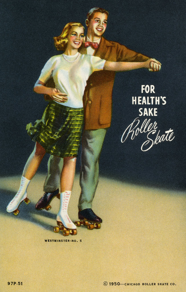 Detail of For Health's Sake, Roller Skate Postcard by Corbis