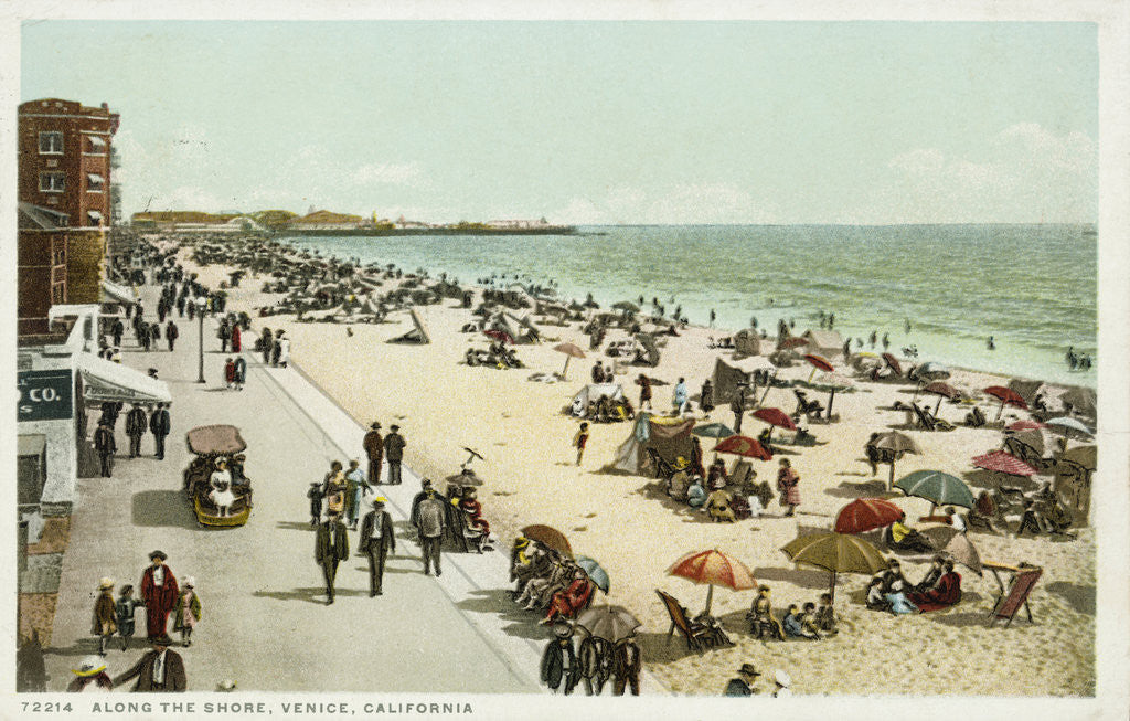 Detail of Along the Shore, Venice, California Postcard by Corbis