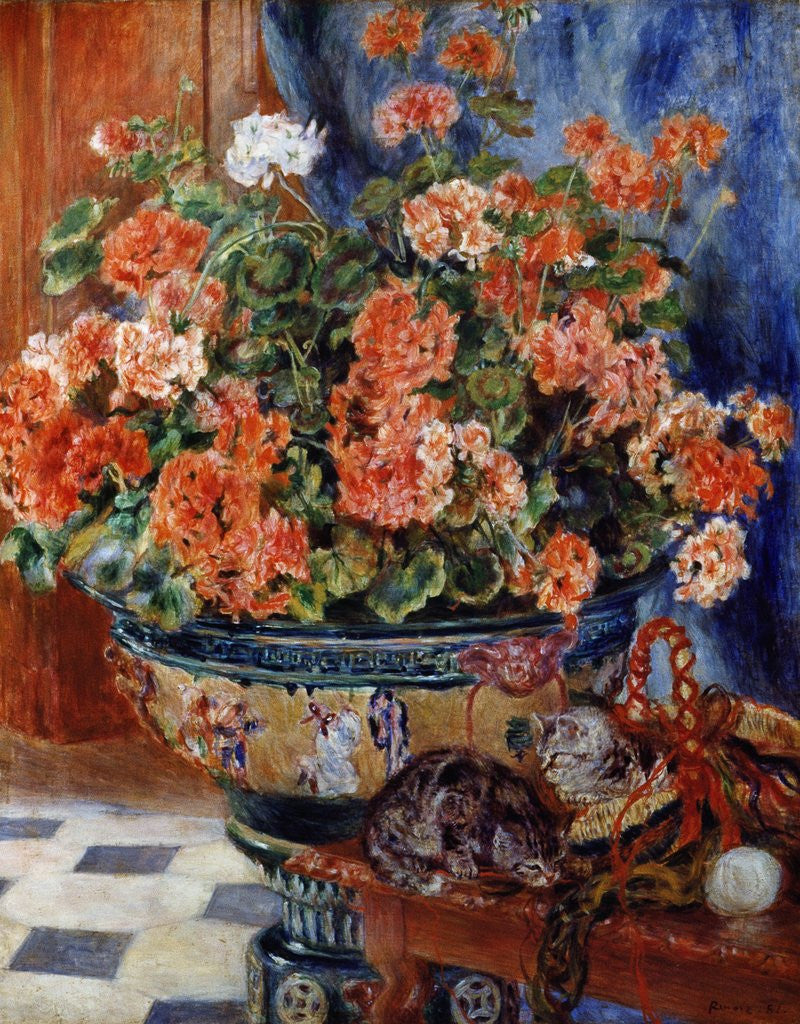 Detail of Geraniums and Cats by Pierre-Auguste Renoir