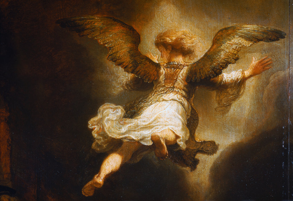 Detail of Detail of Angel Raphael Leaving Tobit and His Family by Rembrandt van Rijn