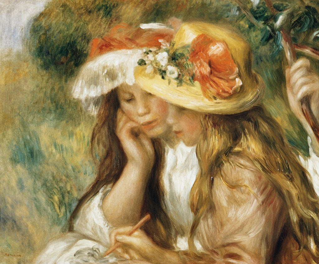 Detail of Two Girls Drawing by Pierre-Auguste Renoir