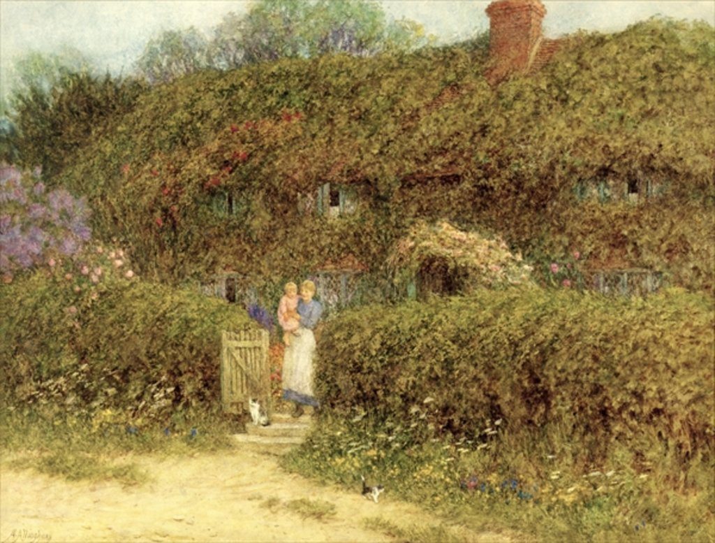 Detail of A Cottage at Freshwater, Isle of Wight by Helen Allingham