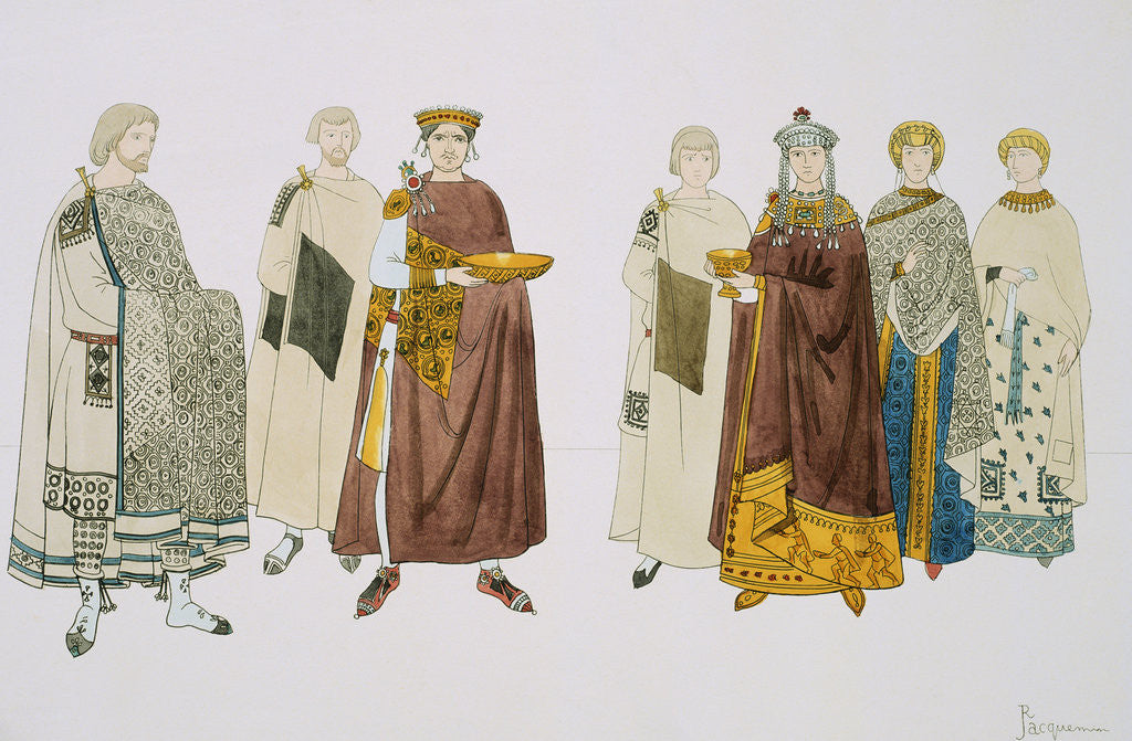 Detail of Print Depicting Emperor Justinian and Empress Theodora with Attendants by Corbis