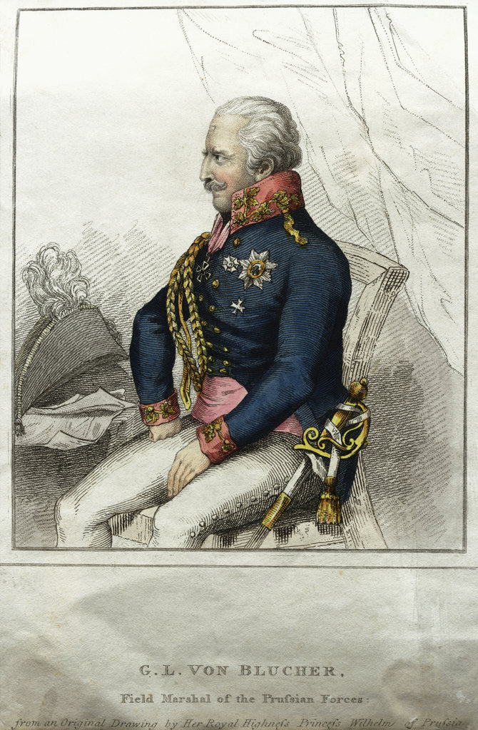 Detail of G.L. von Blucher: Field Marshal of the Prussian Forces Engraving by Corbis