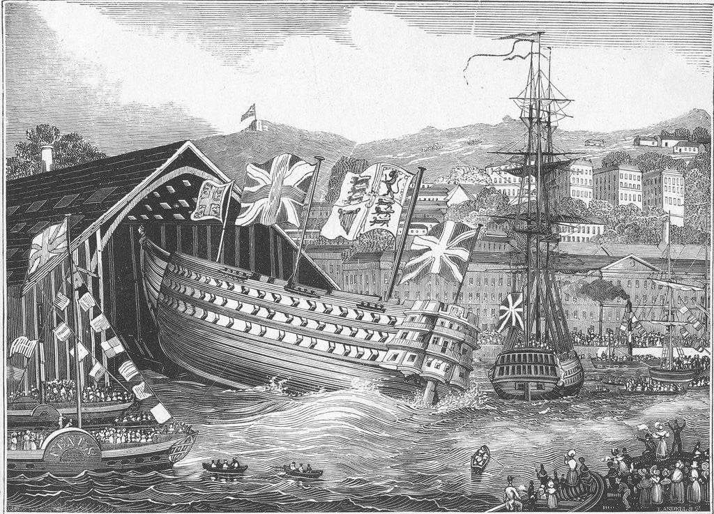 Detail of Engraving of a Ship Launch at the Chatham Royal Dockyard by Corbis