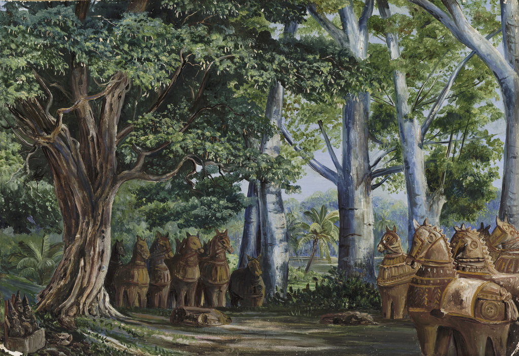 Detail of 279. African Baobab Trees, a large Tamarind, the God Aiyanar and his two Wives. by Marianne North