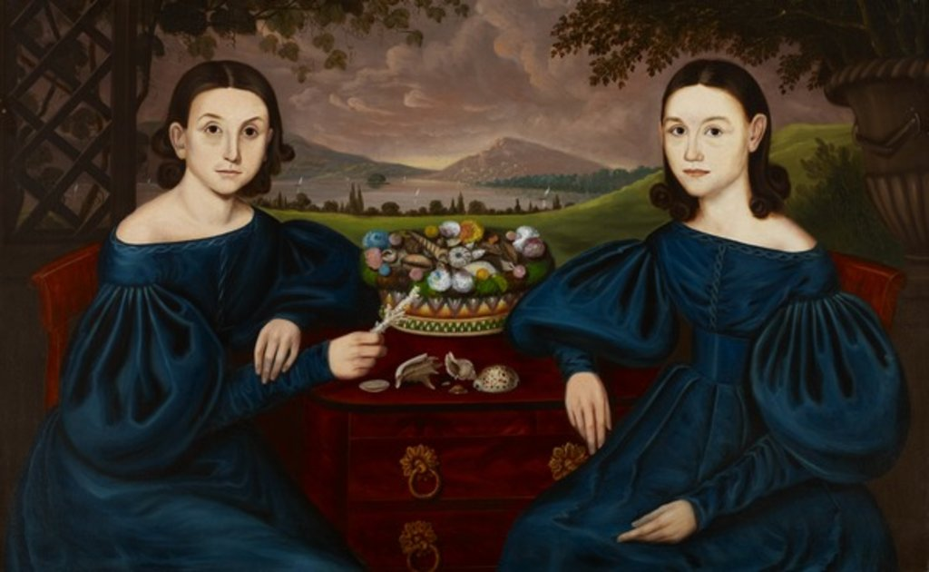 Detail of Ann and Eliza Dusenberry, 1838 by Orlando Hand Bears
