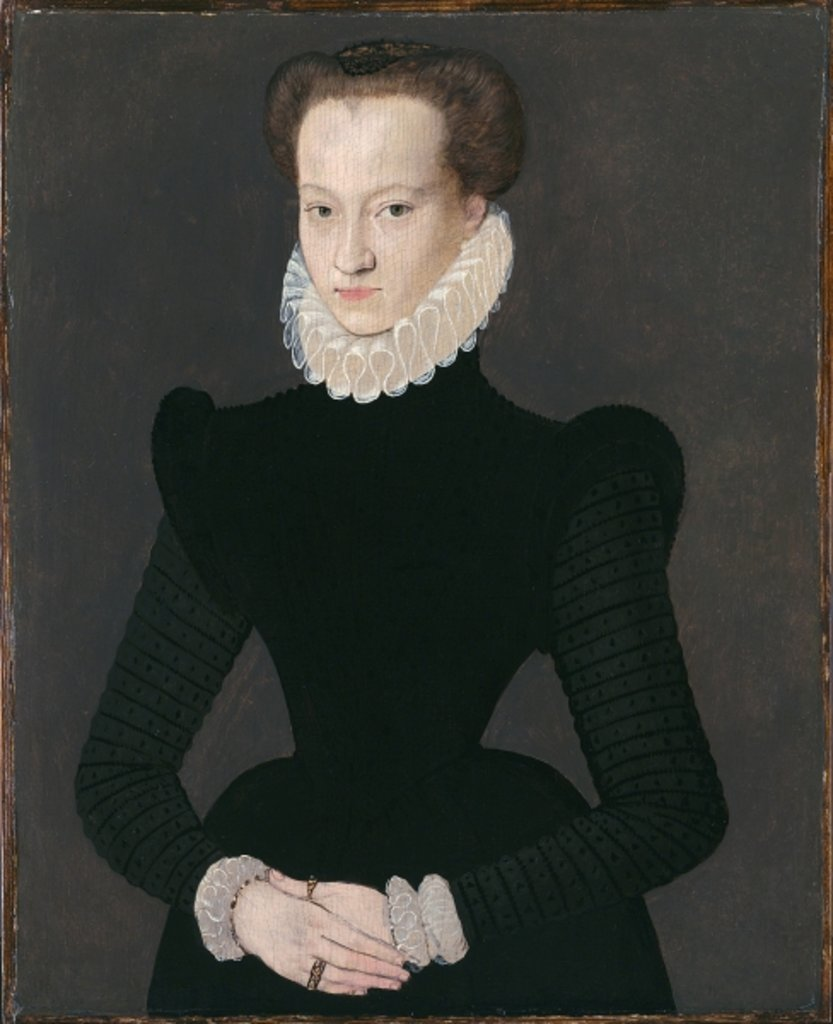 Detail of Portrait of a Lady in a Black Dress, c.1575 by French School