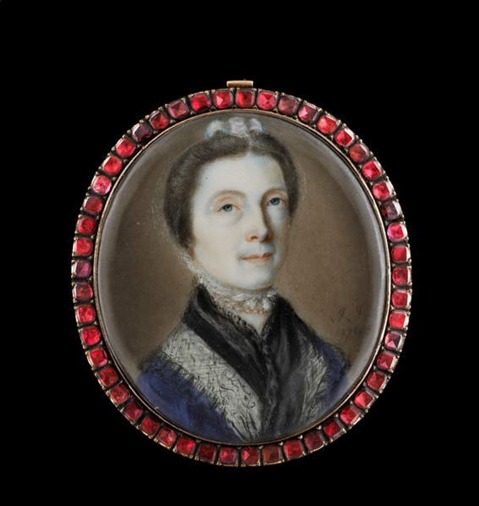 Detail of Portrait miniature of a lady by John Smart