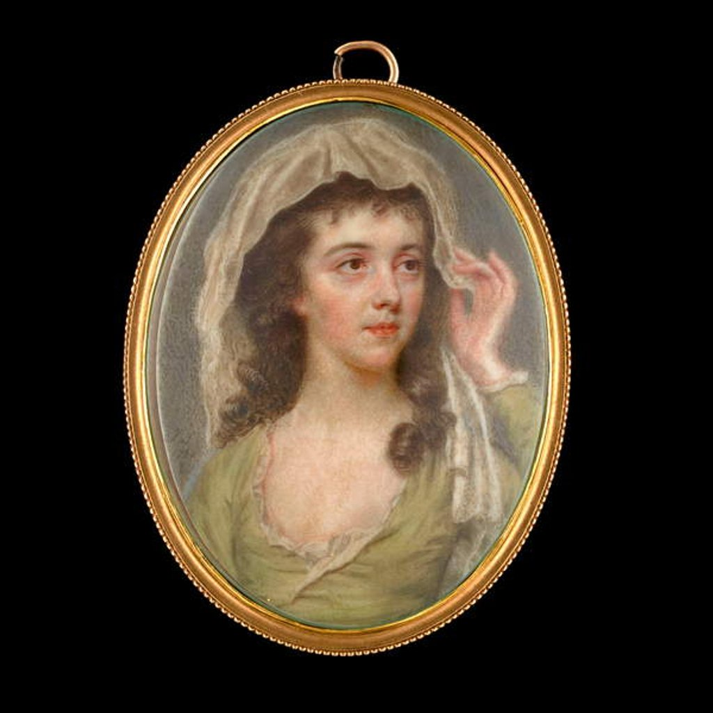 Detail of Portrait miniature of a Young Lady wearing a green dress with white chemise, she holds a white veil to cover her dark brown hair, 1781 by John Smart