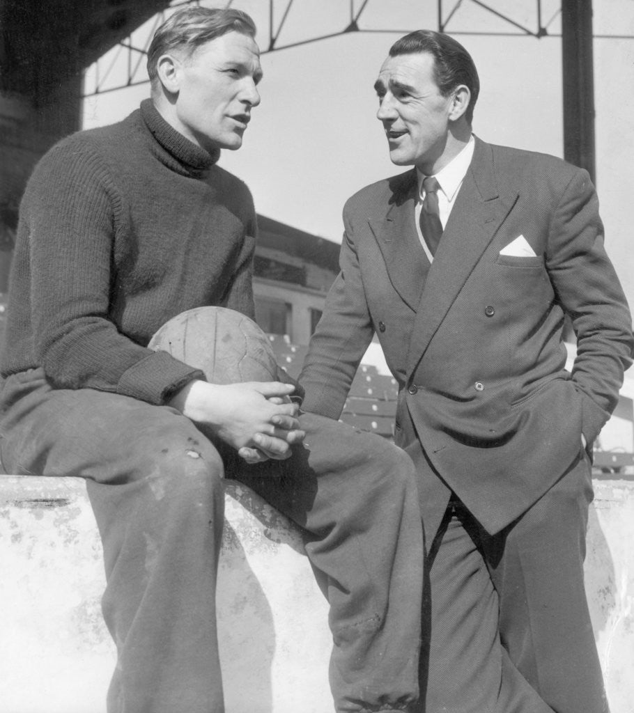 Detail of Frank Swift talking with Bert Trautmann by H. Hicklin