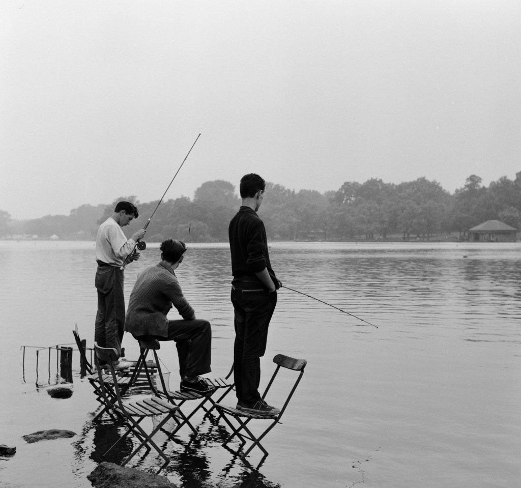 Detail of Boys fishing on the Serpentine in London's Hyde Park by Anonymous