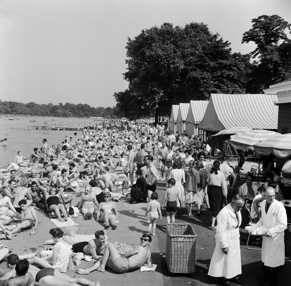 Detail of People sunbathing in a heatwave at the Serpentine Lido by Tommy Lea