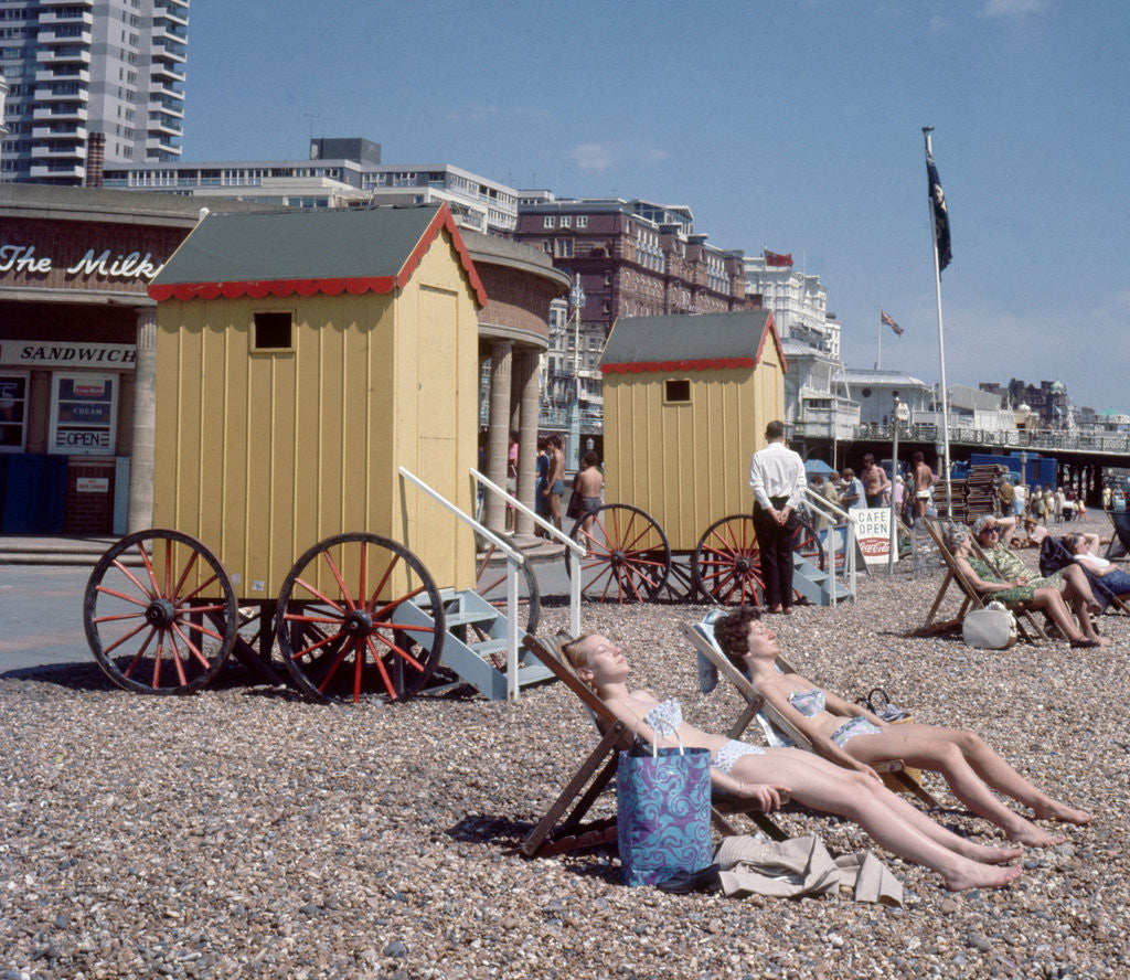 Detail of Old style bathing huts on the sea front at Brighton by Library