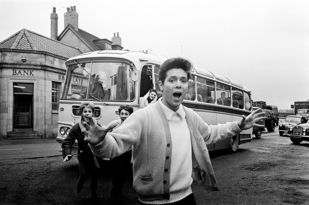 Detail of Cliff Richard with his tour bus by Anonymous