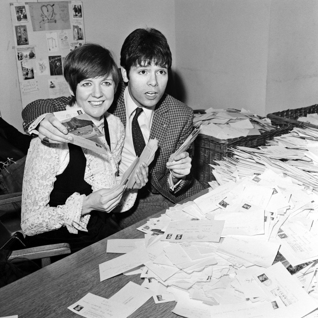 Detail of Cliff Richard and Cilla Black counting votes for Britain's song for Eurovision contest by Waters