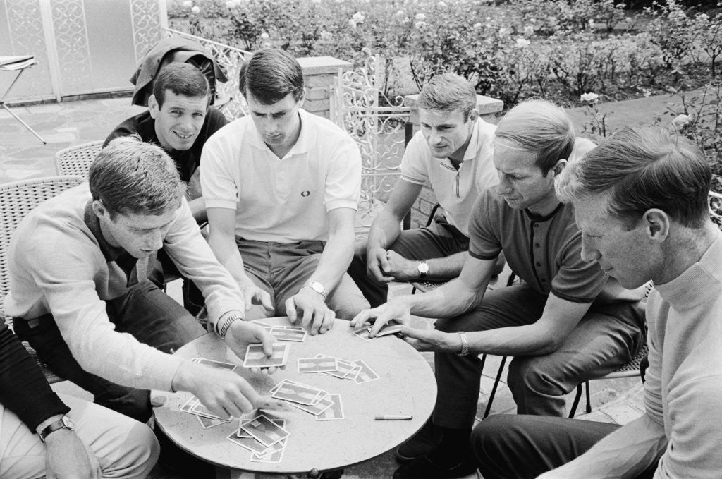 Detail of England players enjoy a game of cards at their base in Hendon during the 1966 World Cup tournament by Staff