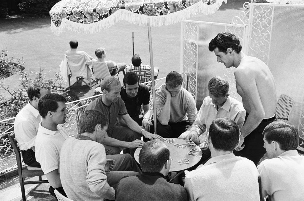 Detail of England players enjoy a game of cards at their base in Hendon by Staff