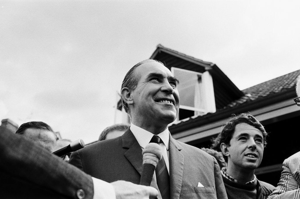 Detail of Alf Ramsey answers reporters' questions at the team base the day before the World Cup Final against West Germany by Anonymous