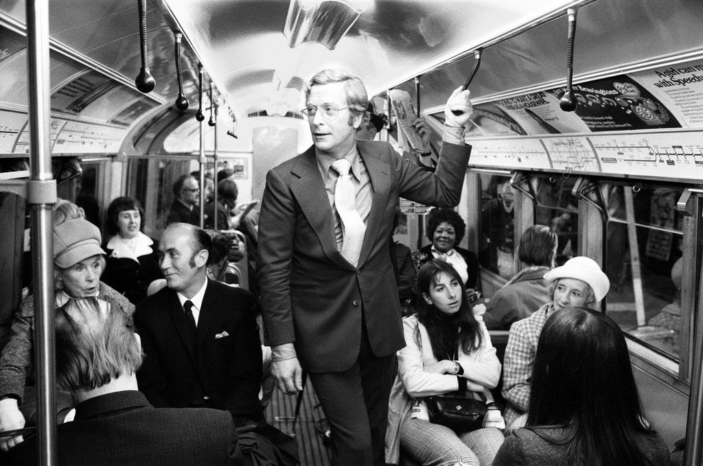 Detail of Michael Caine travelling on the underground by Alisdair MacDonald