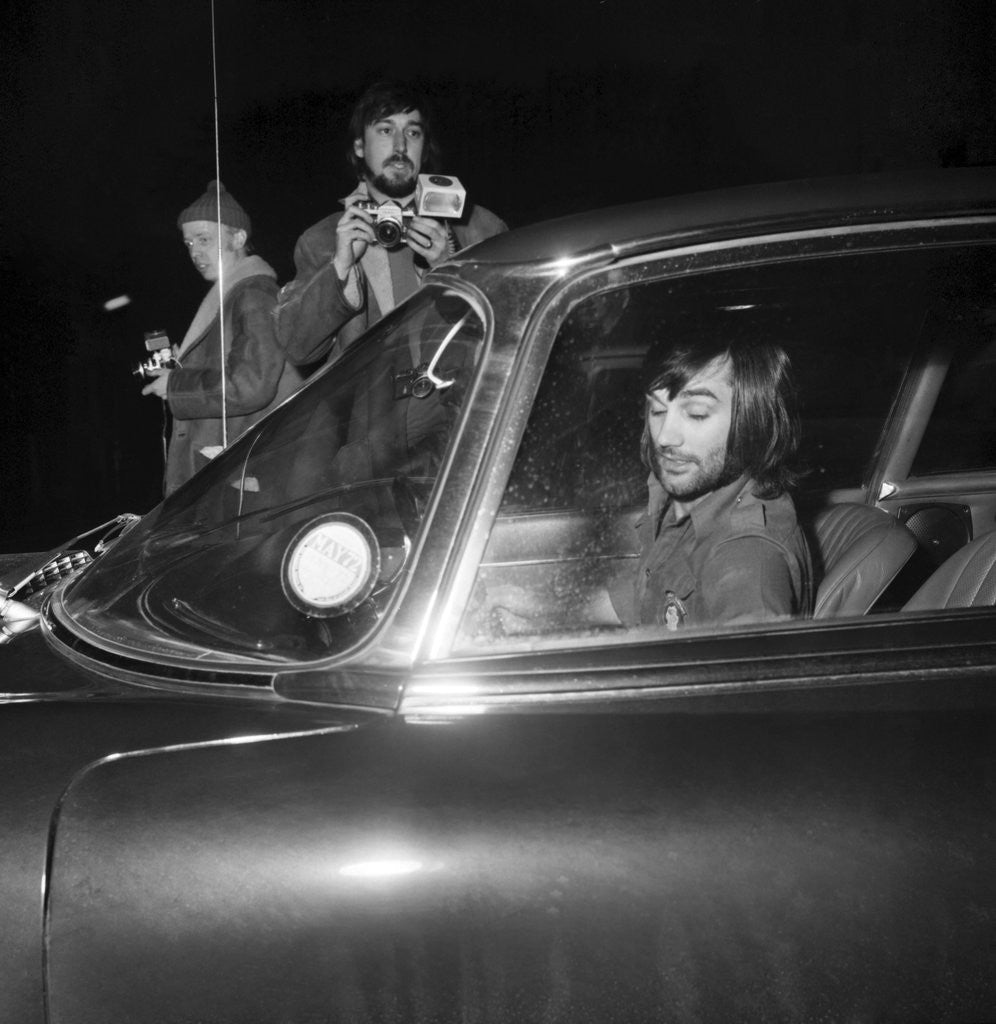 Detail of George Best arriving at Wilmslow station in his Jaguar to meet Carolyn Moore by Staff
