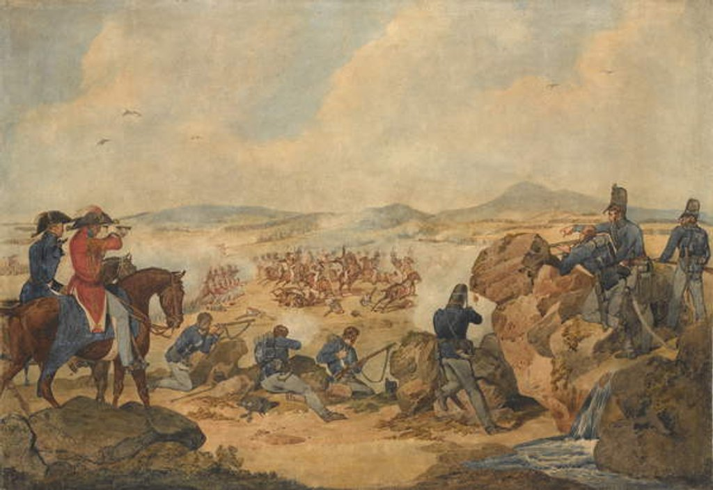 Detail of An action during the Peninsular War, with riflemen of 95th Regiment acting as snipers, c.1810 by Denis Dighton