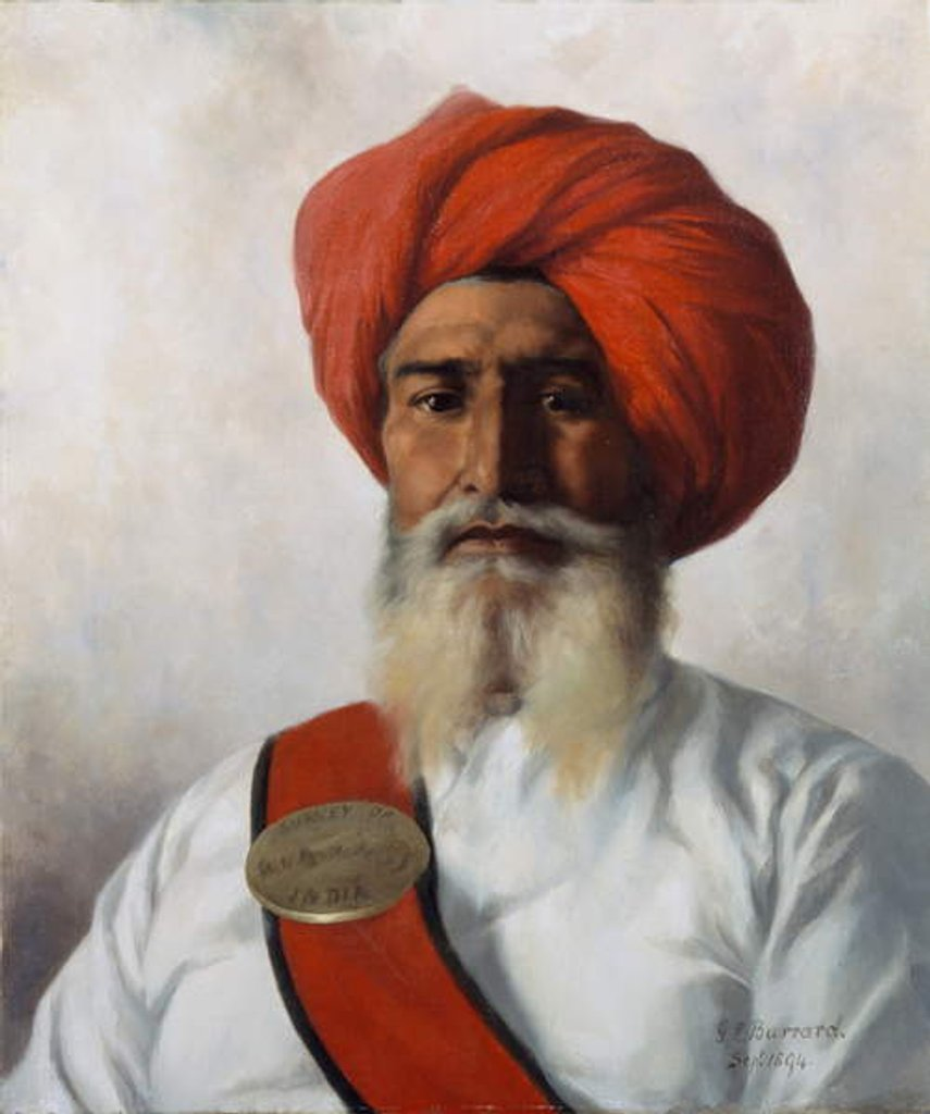 Detail of Ganda Singh, a Sikh chaprassee of Col Wilmer's topographical No.14 survey party, 1894 by Gertrude Ellen Burrard