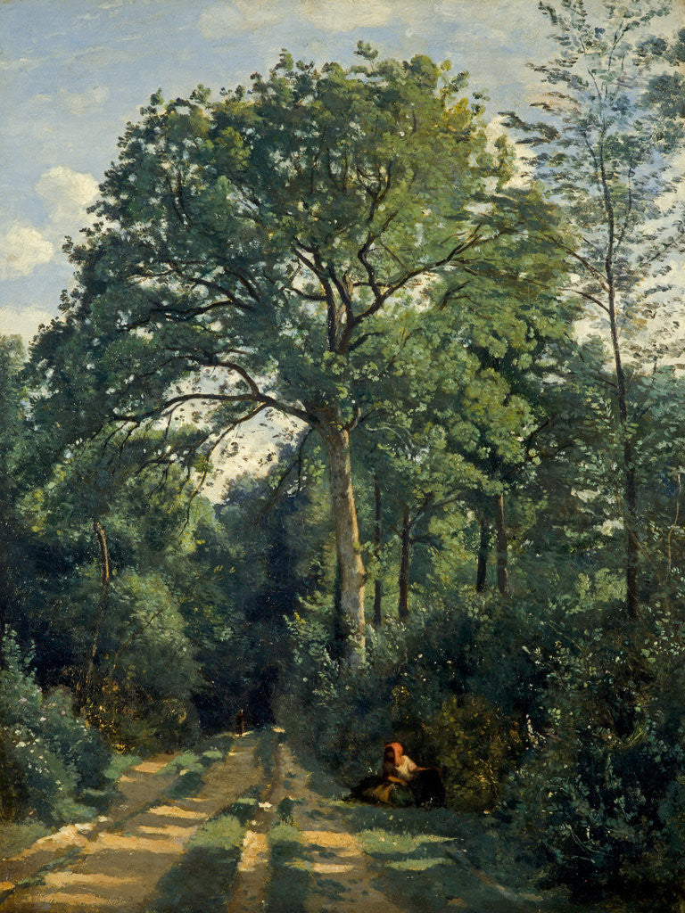 Detail of Ville-d'Avray: Entrance to the Wood by Jean-Baptiste Camille Corot
