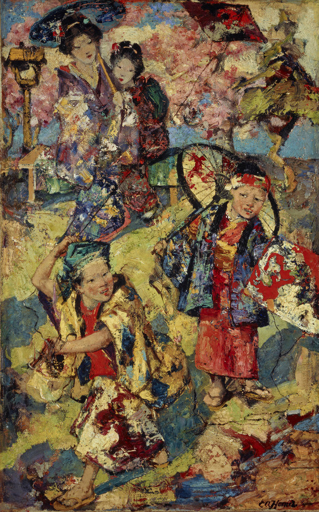 Detail of Kite Flying, Japan by Edward Atkinson Hornel