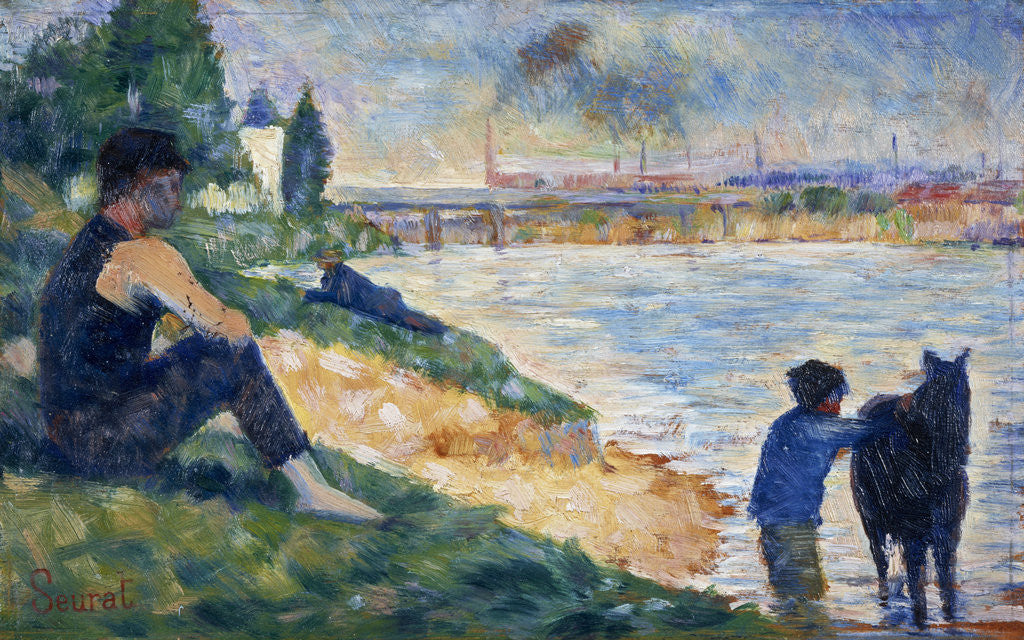 Detail of A Study for 'Une Baignade' by Georges Seurat