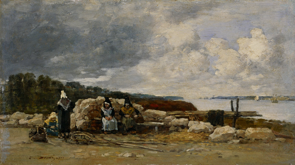 Detail of Kerhor, fisherwomen resting by Louis-Eugene Boudin