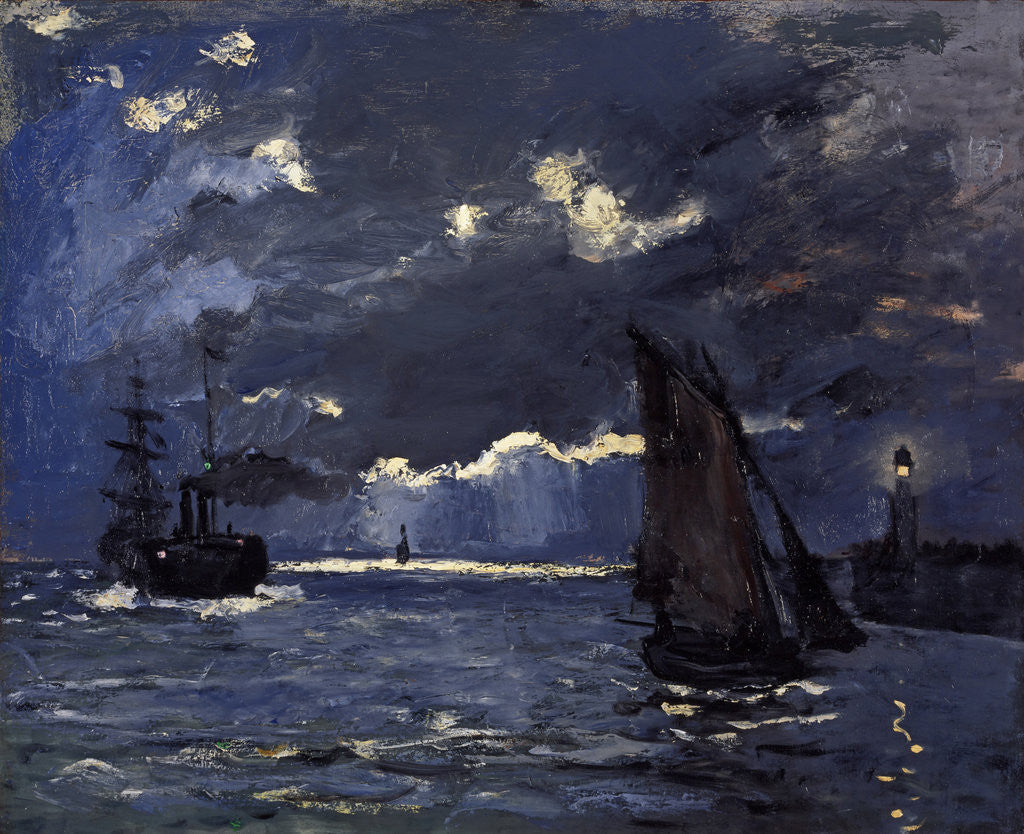 Detail of A Seascape, Shipping by Moonlight by Claude Monet