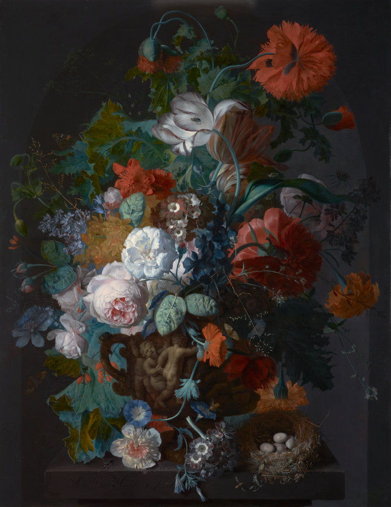 Detail of Flower Still Life with Bird's Nest by Jan Van Huysum