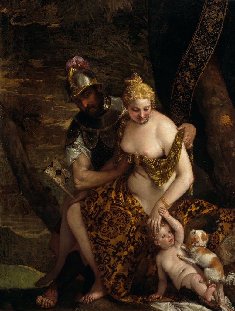 Detail of Venus, Cupid and Mars by Paolo Veronese