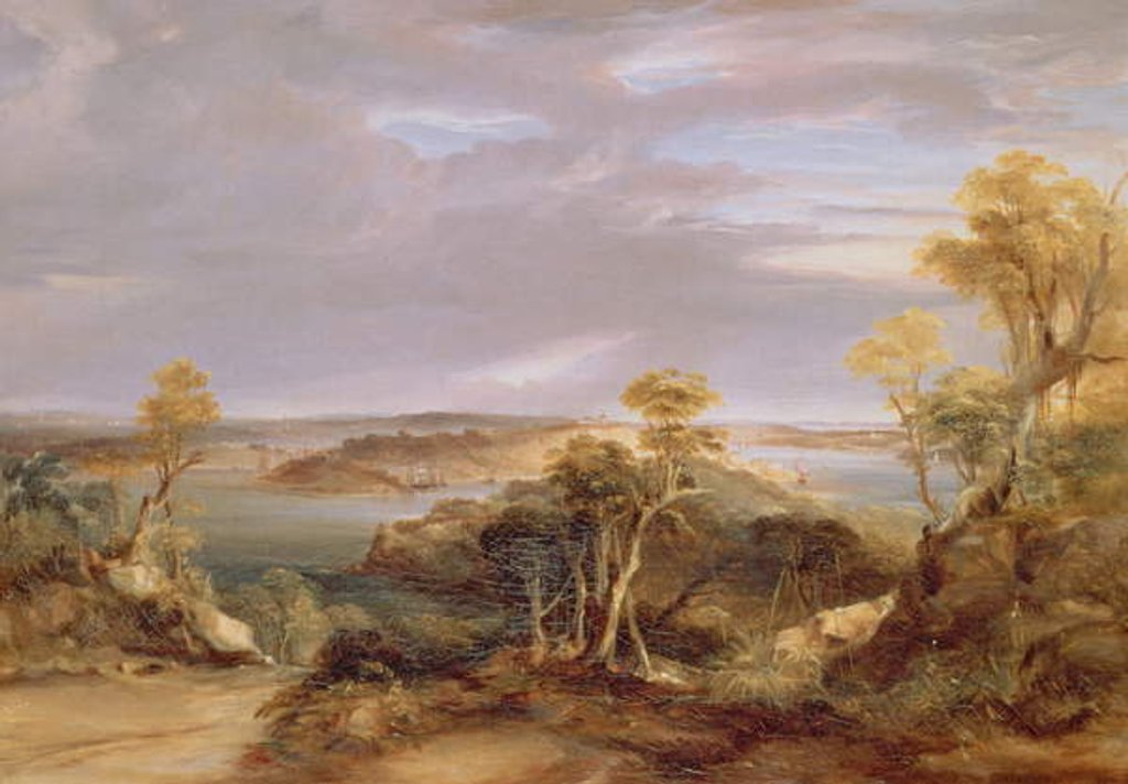 Detail of Sydney and Botany Bay from the North Shore, 1840 by Conrad Martens