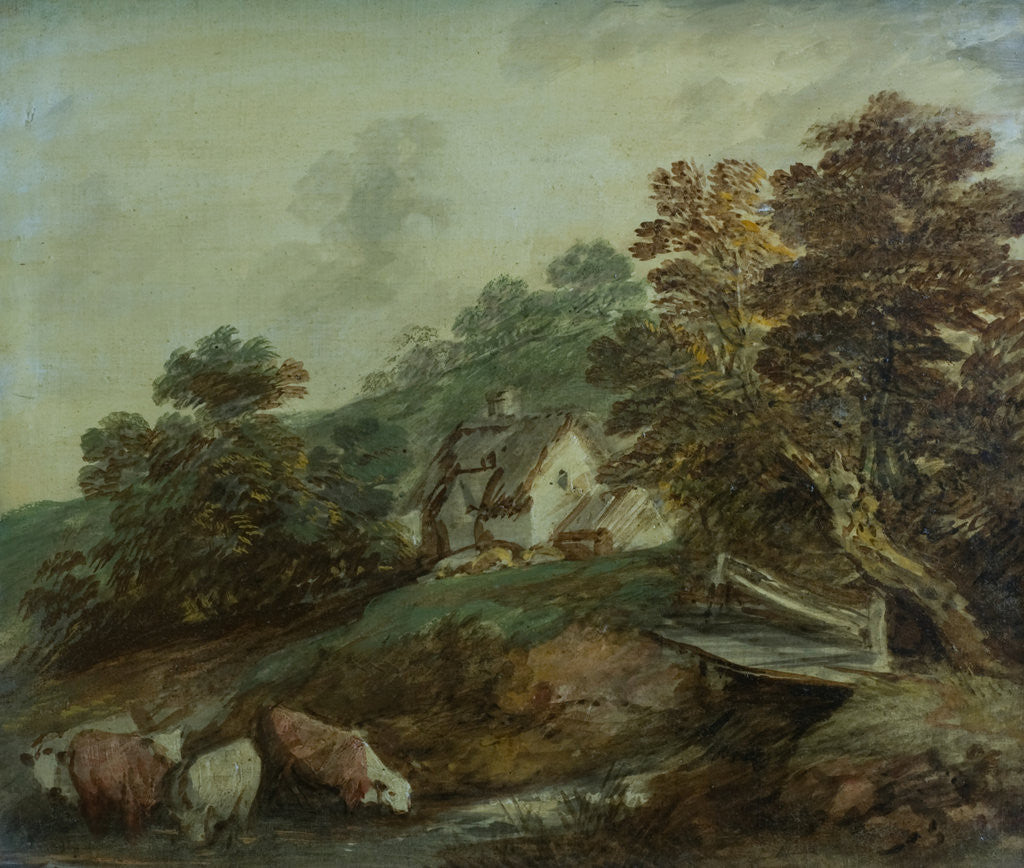 Detail of Cattle watering in a stream by Thomas Gainsborough