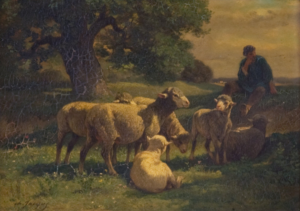 Detail of A Shepherd Boy and Sheep by Charles Emile Jacques