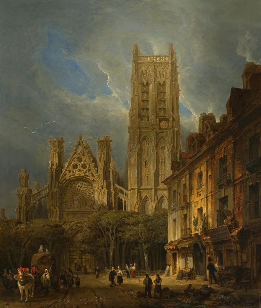 Detail of The Church of St Jacques, Dieppe, 1826 by David Roberts