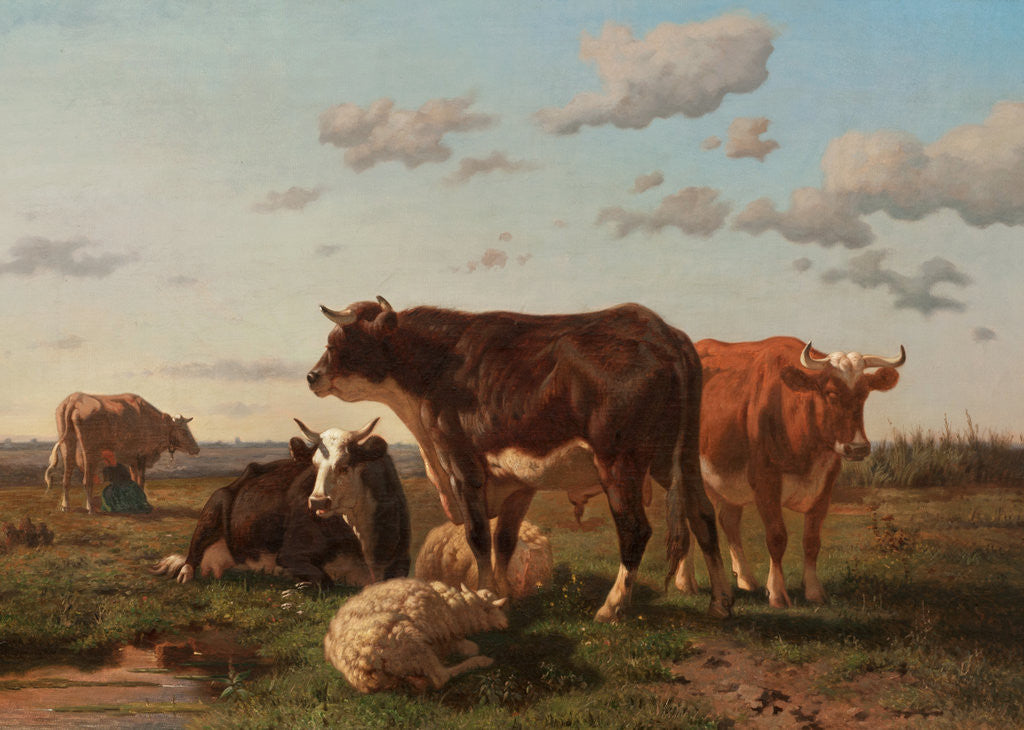 Detail of Cattle and Sheep in a Landscape 1850 by F. Jurnet