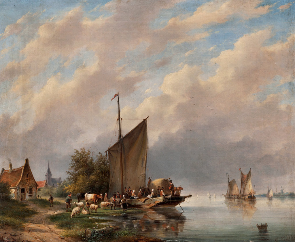 Detail of A Dutch River Scene by Gerardus Hendricks