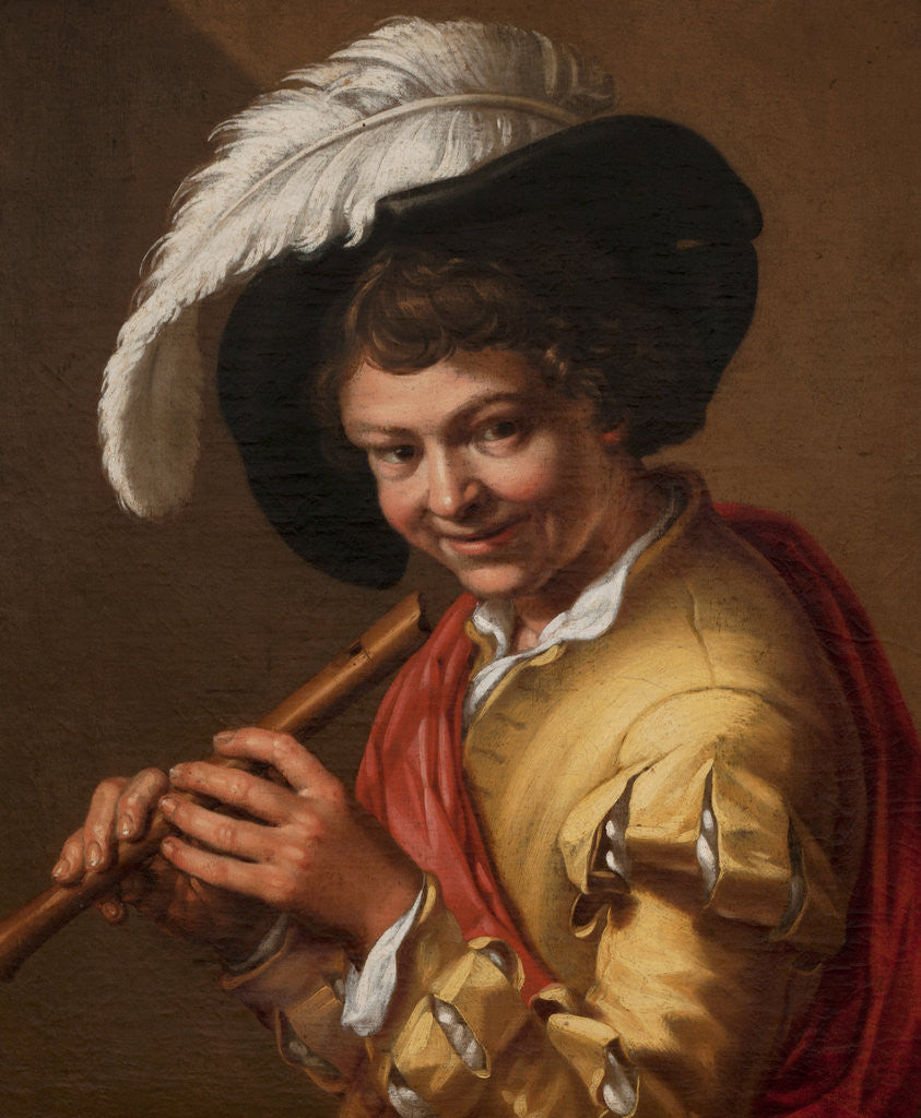 Detail of Boy with a flute by Abraham Bloemaert