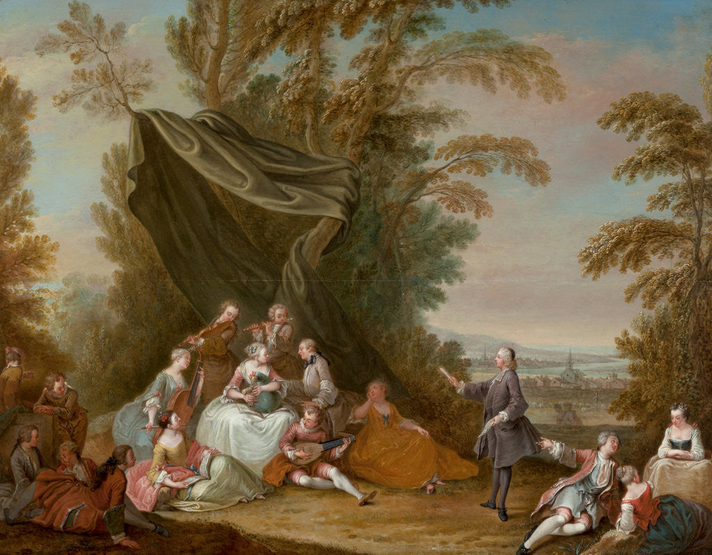 Detail of Fete Champetre: Music Party under an Awning by Jean-Antoine Watteau