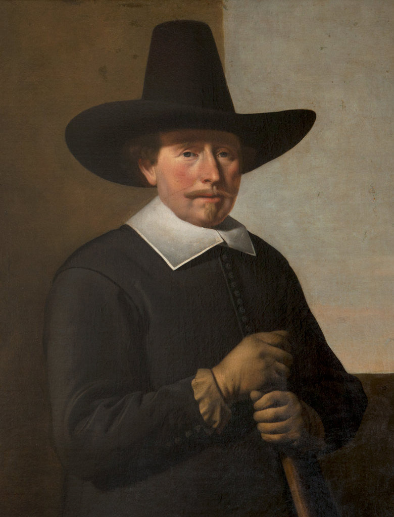 Detail of A man in black holding a staff by Thomas de Keyser