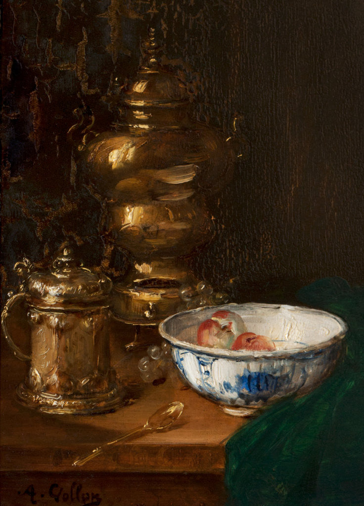 Detail of A bowl of fruit & silver 50.5x48 by Antoine Vollon