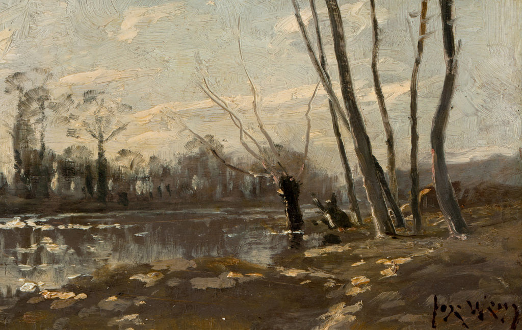 Detail of A wooded river landscape in winter by Josef Weiss