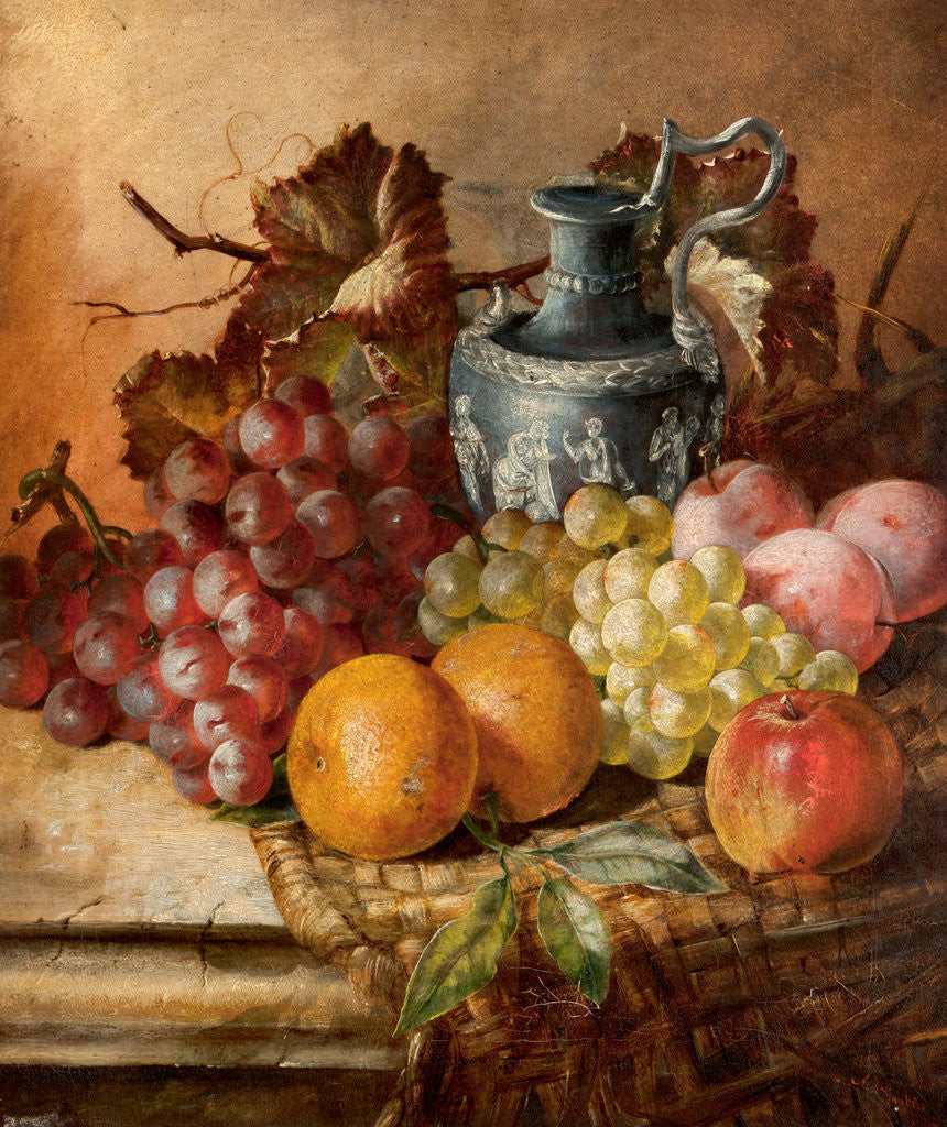 Detail of Fruit and a Wedgwood vase by A. M. Gautier