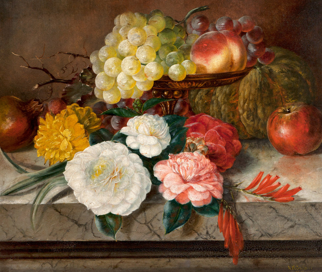 Detail of Flowers and fruit on a marble ledge, 1830 by A. M. Gautier