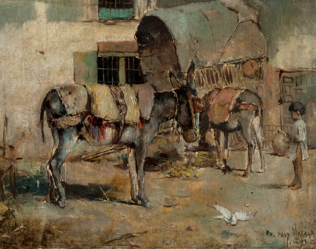 Detail of A Street Scene in Malaga with Child and Donkeys, 1891 by Philip Pavy