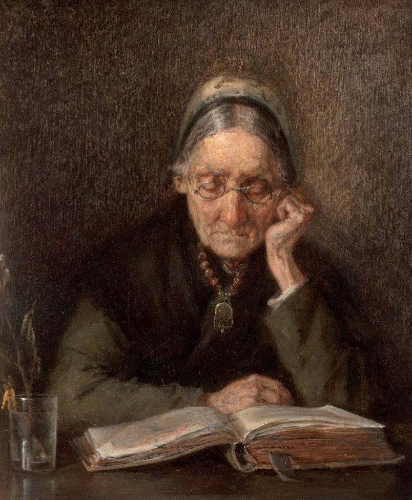 Detail of An Old Woman Reading by M. Knoop