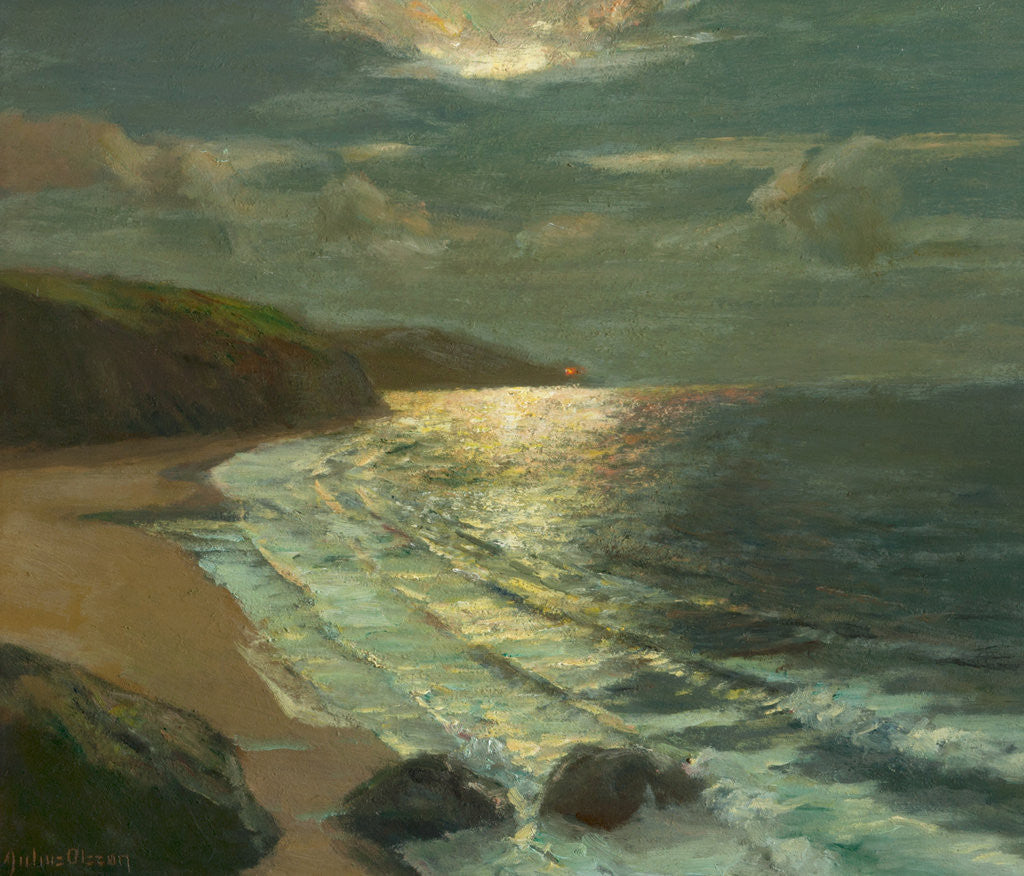Detail of Moonlight on the coast by Julius Olsson
